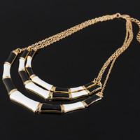 Wholesale Enamel Color Necklace - Hot Popular Individual Design Black Enamel Elegant Gold Color Chain Alloy Collar Necklace For Women Fashion Bijoux #N078