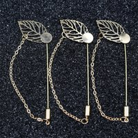 Wholesale Design Lapel Pins - Silver Plated Copper Leaf chain design Plated Copper Hat Brooches pins Stick lapel pin base for women men's Diy Jewelry Findings Accessories