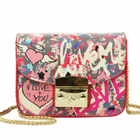 Wholesale Mini Love - 2017 Summer Graffiti Love Mini Plap Women PU Shoulder Bags Handbags Women Famous Brands Cover Chain Crossbody Bags For Women