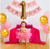 Wholesale Baby Foil Balloon - 1st Pink Birthday Bunting Banner Flag 40'' number 1 foil balloons baby shower girls Birthday decoration globos party supplies