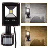 Wholesale Pure Security - Wholesale-201610W Floodlight PIR Motion Sensor Flood Lights Security Pure White LED Outdoor Lighting 50-60Hz