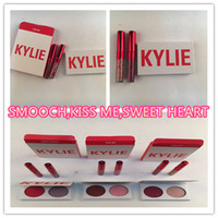 Wholesale valentines wear - Kylie Valentines Kyshadow Eyeshadow palette +Lipstick Duos Kylie Eye shadow 2 Color Eye Shadow with lipgloss Comestic Valentine Gift