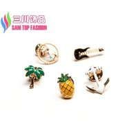 Wholesale Guitar Vintage Jewelry - Wholesale- 2016 Hot Vintage Brooches Fashion Oil Pineapple Anchor Guitar Tree Women's Jeans Pins Studs Jewelry Decos alfileres broches