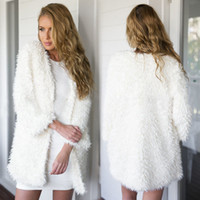 Wholesale Cape Sleeve Top - Wholesale- New Womens Fluffy Shaggy Faux Fur Cape Coat Jacket Winter Outwear Cardigan Tops