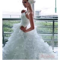 Wholesale Big Fluffy Wedding Dresses - 2017 Princess Wedding Dresses Strapless Sleeveless Big Fluffy Tail Long Tail Crystal Organza Chaple Train Bridal Gown