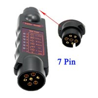 12V 7Pin Véhicule Trailer LED Light Cable Circuit Towing Plug Socket Tester Black