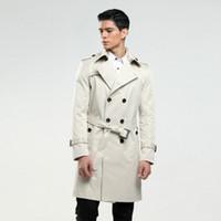 casacos longos homens venda por atacado-trespassado longo ervilha casaco fino trenchcoat clássico ajuste dos homens 6XL tamanho casaco custom-tailor Inglaterra do homem como presentes