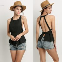 Wholesale Sexy Career Clothing - Sexy tops for women Open Back Chiffon Soft Sleeveless Blouse Top Chiffon Backless Black For Career Cocktail Party Clothing