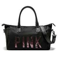 Duffel Bags organic secrets - Sequins Letter Pink Handbag Fashion Women Waterproof Shopping Shoulder Bag Large Capacity Travel Bag VS Secret Sport Fitness Bag WX P02