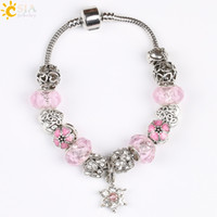 Wholesale green crystal jewellery - CSJA Love Snowflake Flower Pendant Female Charms Plated Silver Bracelet Shambhala Beads Bangle Purple Pink Crystal European Jewellery E200