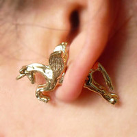 Wholesale Men White Gold Diamond Earring - Retro Vintage Women Men Fashion Punk Ear Stud Cute Unicorn Horse Earrings Running Horse