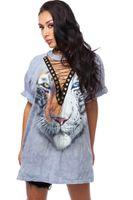 Wholesale Tiger Tooth - Tiger printed women t shirt dress v neck bandage straps 3D printing tiger teeth women shirt short sleeve tops & Tees