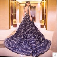 2017 Новый стиль Real Picture Blue Sexy Formal Evening Dress Длина пола Lace-up Backless Evening Gowns Sequins Princess Trailing Dress