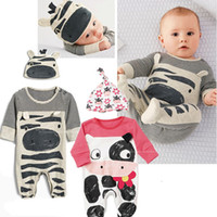 Wholesale Cartoon Cow Hat - 2017 Wholesale New Infant Newborn Baby Cartoon Cow Printed Rompers Pink Gray Boy Girls Flower Jumpers 2 Pcs Set Jumpsuit With Cap Hat Q0925