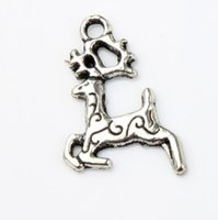 Wholesale Running Numbers - Christmas Running Elk Charms 200PCS LOT 15x21.5mm Antique Silver Pendants Fashion Jewelry DIY Fit Bracelets Necklace Earrings L784
