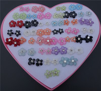 36pairs / lot Mix Colors Fashion Rhinestone Resin Plastic Flower Stud Earrings para crianças Girls Jewelry Wholesale