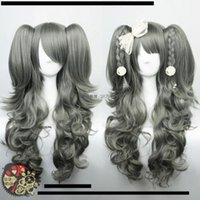 Wholesale Long Pony Tails Wigs - Long Anime Wig Gray Curly Clip On Pony Tails Cosplay