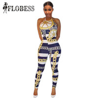 Wholesale Nightclub Jumpsuits For Women - Wholesale- 2017 Sexy Halter Fashion Bodycon Jumpsuit Bangage Bodysuit for Women Party Romper Chain Print Prom Playsuit NightClub Wear