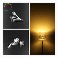 lado plano de ângulo largo venda por atacado-Venda por atacado- 1000 x LED 5MM Flat Top Branco Quente LED Wide Angle Emitting Diodos Urtal lâmpada de luz brilhante Lâmpada F5MM Active Components