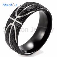 Wholesale Inspired Rings - SHARDON Domed 8MM IP Black Titanium Basketball Inspired Ring STIPPLE TEXTURED FINISH Sports Band for Men