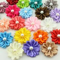 satin stoff stirnbänder großhandel-Mode Satin Band Multilayer Stoff Blumen Für Stirnbänder Kind Perle Blume DIY Weihnachten Haar Styling Zubehör