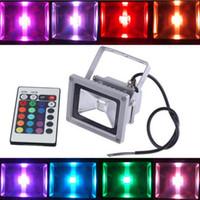 rgb led inundaciones controladas al por mayor-10W exterior RGB LED Lámpara IP66 impermeable con luz de inundación con 24 teclas de control remoto AC 110-240V lámpara de luz de ahorro de energía