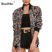 Wholesale Women Coat Fashion Overcoat - Wholesale- RealShe Spring Woman Windbreaker Basic Coats Women Long Sleeve Zipper Winter Bomber Jacket Women Casual Sequins Overcoat Outwear