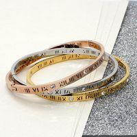 Wholesale Fashion K Gold Ring - Fashion brand letter Roman numerals bracelet 18 k gold crystal classic couple bracelet a birthday present