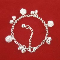 Wholesale Wedding Charms Silver Bells - Silver Ball Bell Charm Bracelets With 22cm Silver Link Chain And Lobster Clasp Fashion Delicate Women Wedding Jewelry