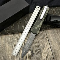 Wholesale new folding utility knives for sale - Group buy New Damascus steel double thin blade zinc alloy handle straight jump knife automatic folding tactical camping utility mountaineering