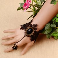 Wholesale Gothic Jewelry Wrist - Europe and the United States rose flower lace bracelet fashion wristband wrist jewelry Gothic court jewelry with one ring chain woman