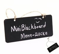 Wholesale Chalkboard Sign Wholesale - Mini Blackboard Chalkboard With Hang String Wooden Message Sign Wedding Party Decoration Marriage Supplies 18.5*8cm