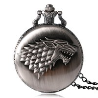 Atacado-2016 Antique Game of Thrones Strak Family Crest O inverno está vindo com o design Pocket Watch Unique Gifts Unisex Fob Clock