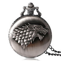 Wholesale-2016 Antique Game of Thrones Strak Family Crest L'hiver est à la recherche de montres de poche de conception Unique Gifts Unisex Fob Clock