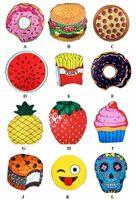 sarong à la crème achat en gros de-En gros été ronde serviette de plage pizza Emoji Hamburger crâne crème glacée à la fraise ananas pastèque plage serviettes tapis châle sarongs