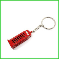 Wholesale Telephone Key Chains - Fashion London style Red Telephone Booth Key chain British souvenir gift KeyChain keyRing