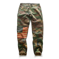 camouflage hosen männer schlank großhandel-Camouflage American Flag Slim Männer Casual Hosen Sommer Dünnschliff Camouflage Hosen Militär harten Kerl