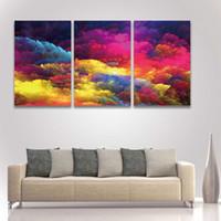 obra de arte de pared grande al por mayor-3 Panel Canvas Wall Art Picture Abstract Colorful Painting para Home Decor Decorar Living Room Artistic Artwork Large Prints
