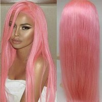 Wholesale Straight Pink Hair - 10A Pink Human Hair Wigs With Natural Hairline Silky Straight Brazilian Full Lace Wig With Baby Hair 100% Virgin Lace Front Wigs