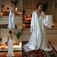 Wholesale Navy Silk Robes - Two Pieces Bridesmaid Bride Robes Custom Made Silk Satin Bathrobe Wedding Party Robe For Women Floor Length Lace Sleepwear