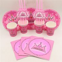Wholesale-56pc \ lot Feliz Cumpleaños Partido Princesa Paja Placas Niños Favores Cups Papel Servilletas Baby Shower Corona Platos Decoración Suministros