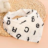 Wholesale Newborn Baby Handkerchief - Baby Cotton Gauze Bibs Newborn Cartoon Print 4 layers Feeding 9styles choose soft Burp Cloths Infant Handkerchief