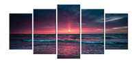 Wholesale Large Sunset Canvas - YIJIAHE Modern Print Canvas Painting Sunset 5 Piece Canvas Art Wall Pictures for Living Room Large Wall Art FJ303 Framed