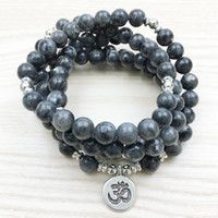 Wholesale Ohm Necklace - SN1146 Top Design Labradorite Wrap Bracelet Men`s 108 Mala Yoga Bracelet or Necklace Silver Lotus Ohm Buddha Bracelet