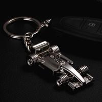 Wholesale Keychain Cool - Fashion Keychains 3D F1 Racing Car Keychain Zinc Alloy Cool Keyring Key Ring Keyfob Key Holder Car Keychains Sports Key Chain keychain