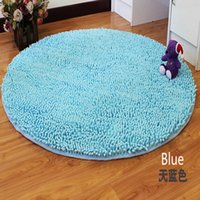 blue chenille rug - round big blue Washable New Thick chenille Carpet Shaggy Rugs Bath Mat Bathroom Carpet Colours for living bed room antii slip