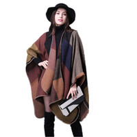 Wholesale Grey Knit Cardigan Women - 2017 Winter Vintage Plaid Floral Gradient Shawl Women's Cashmere Knitted Poncho Oversized Blanket Cape Wrap Cardigan