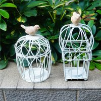 Wholesale Mousse Candle Holders - White iron birdcage Candle Holders fashion mousse novety item two models can choose