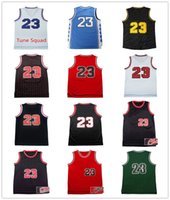 Wholesale Cheap Stitched Sports Jerseys - Men's 100% Stitched Top quality #23 Jerseys Classical Black Red White Basketball Jersey embroidered Logos Cheap sports shirts
