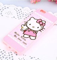 Wholesale Durable Iphone5 - 2017Best Cases For Apple Iphone5  6 6p  Korean Style Simple And Lovely Whole Colored Pink Hello Kitty Silicone Durable